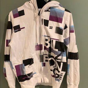 Billabong white zip up hoodie small